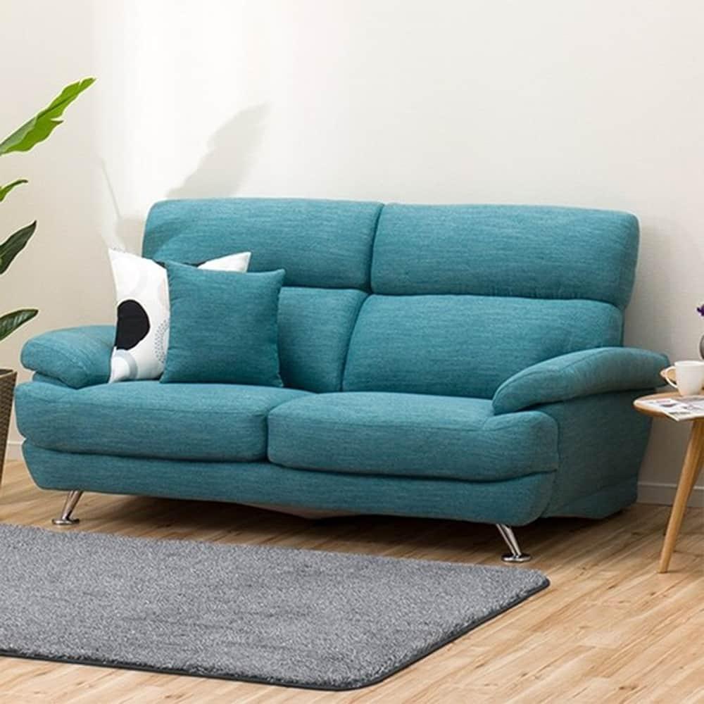 【ニトリ】 3人掛けソファ(クッション1個付) Nポケット A13 DR−TBL ターコイズブルー:座面には横になってもベッドような心地良さのポケットコイルを使用。