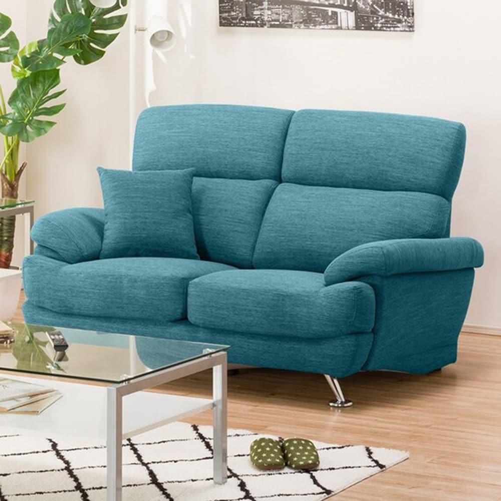 【ニトリ】 2人掛けソファ(クッション1個付) Nポケット A13 DR−TBL ターコイズブルー:座面には横になってもベッドような心地良さのポケットコイルを使用。
