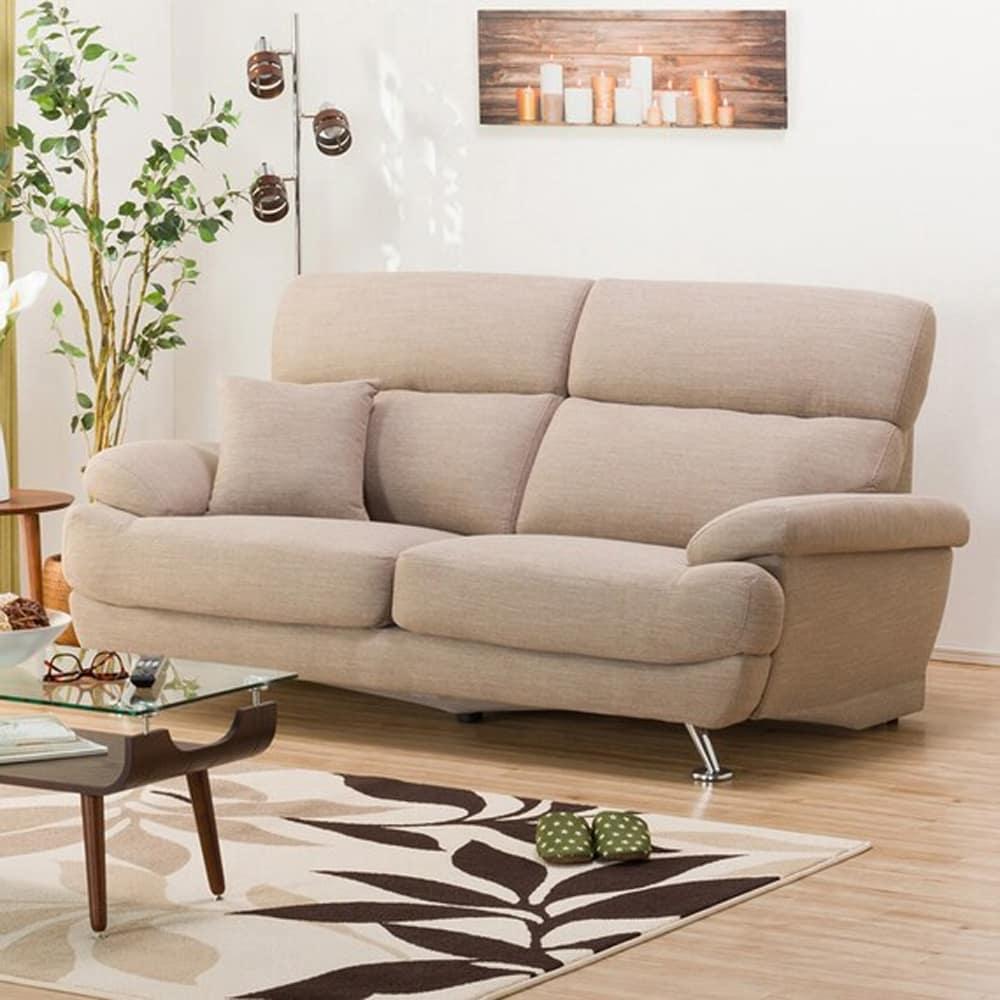 【ニトリ】 3人掛けソファ(クッション1個付) Nポケット A13 DR−BE ベージュ:座面には横になってもベッドような心地良さのポケットコイルを使用。