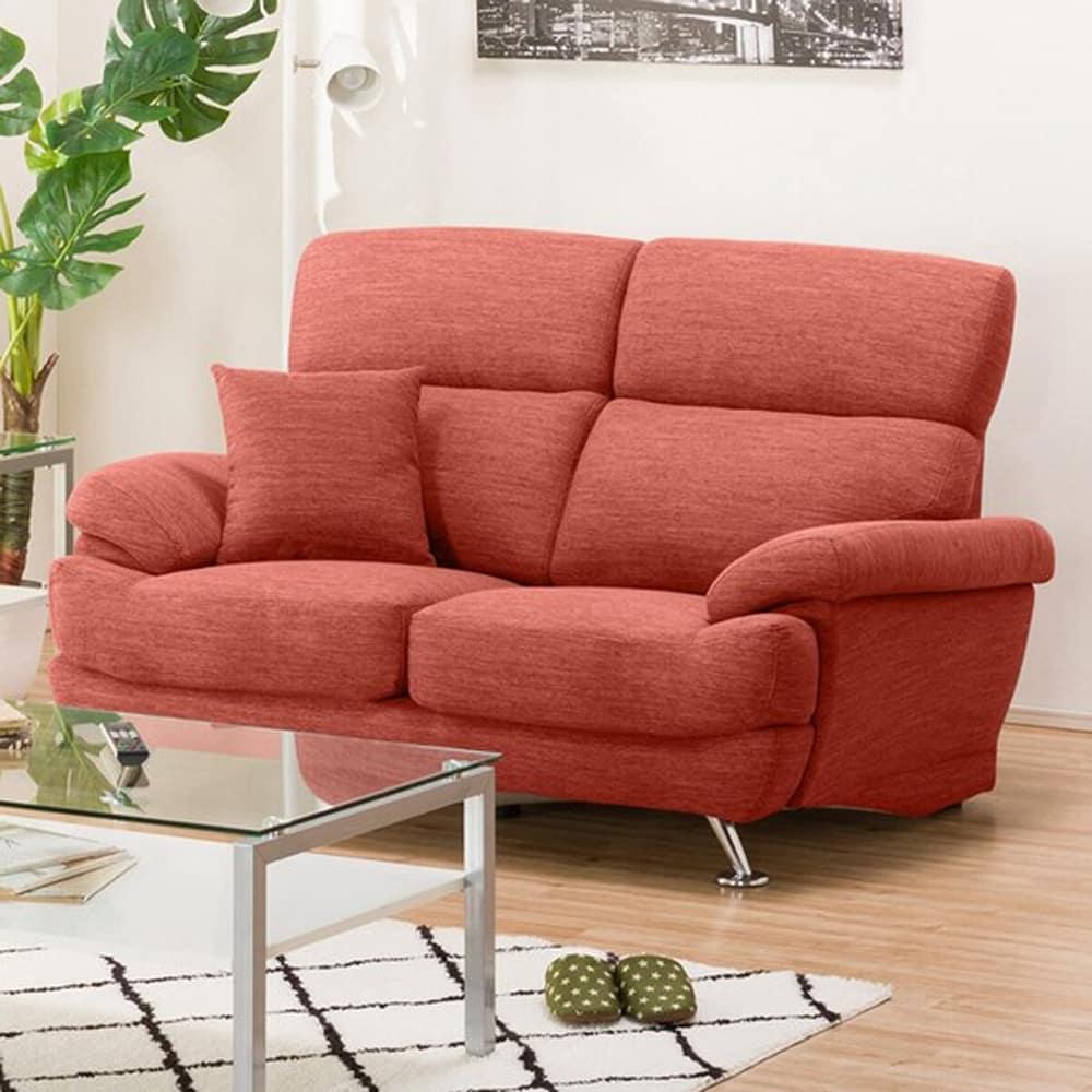 【ニトリ】 2人掛けソファ(クッション1個付) Nポケット A13 DR−RED 2レッド:座面には横になってもベッドような心地良さのポケットコイルを使用。