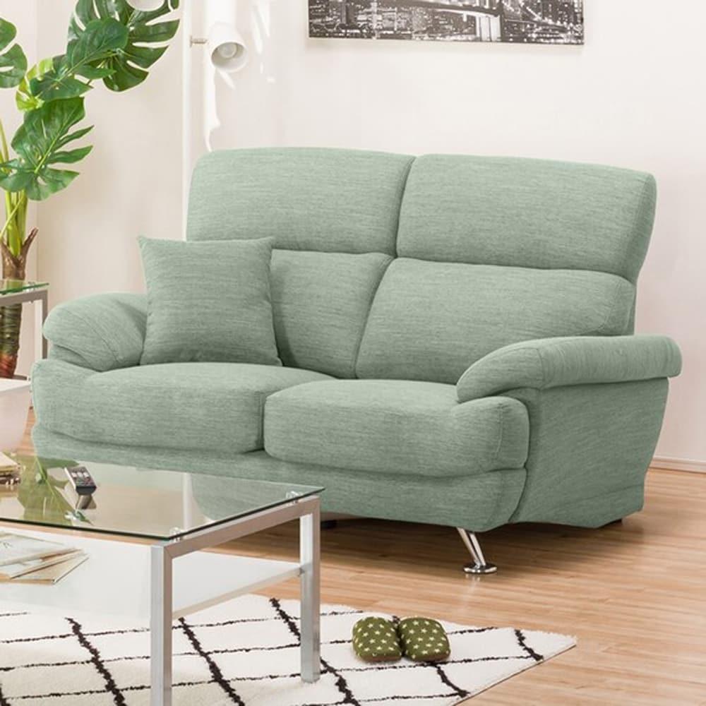 【ニトリ】 2人掛けソファ(クッション1個付) Nポケット A13 DR−GGR グレイッシュグリーン:座面には横になってもベッドような心地良さのポケットコイルを使用。