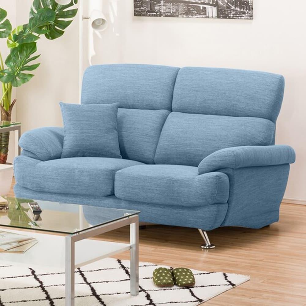 【ニトリ】 2人掛けソファ(クッション1個付) Nポケット A13 DR−LBL ライトブルー:座面には横になってもベッドような心地良さのポケットコイルを使用。