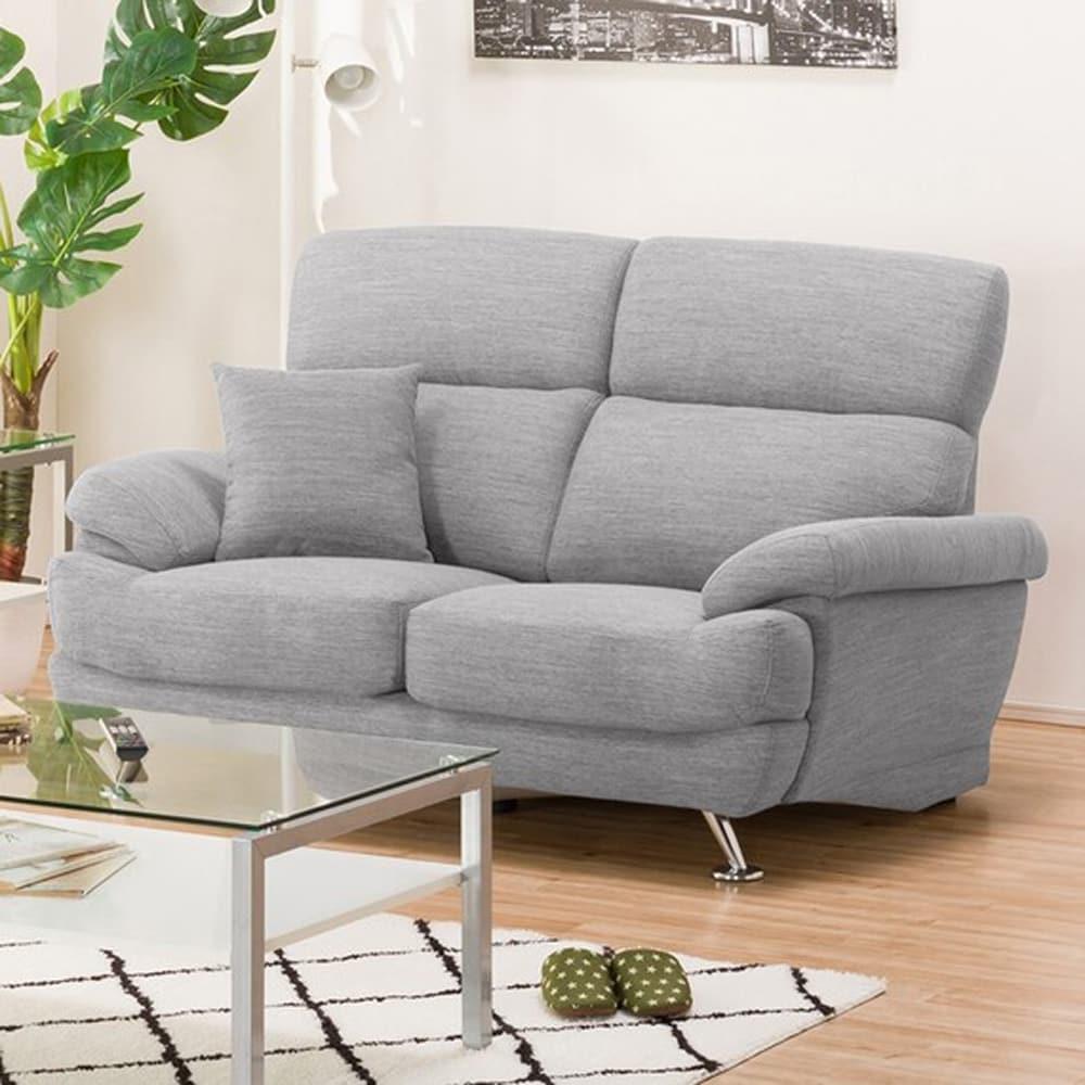 【ニトリ】 2人掛けソファ(クッション1個付) Nポケット A13 DR−MGY ミドルグレー:座面には横になってもベッドような心地良さのポケットコイルを使用。