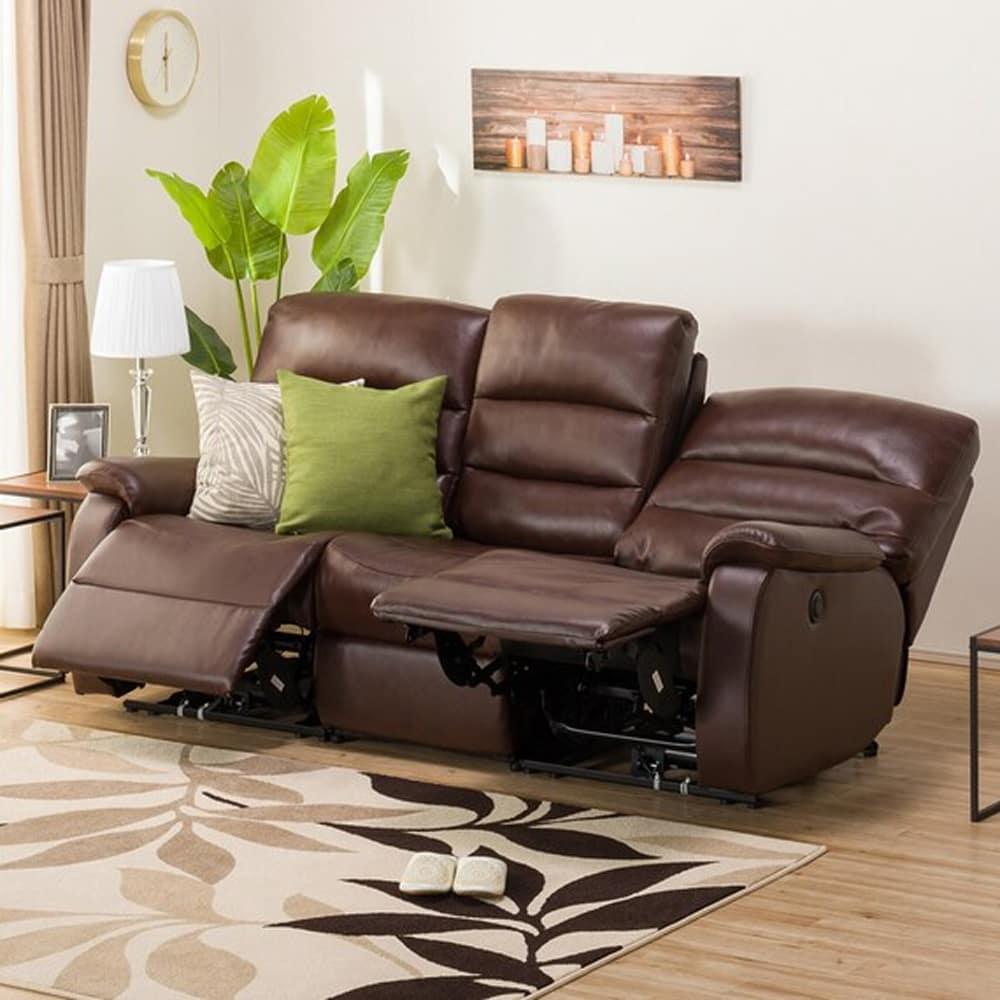 【ニトリ】 3人掛けテーブル付きリクライニングソファ ビリーバー3 厚革・PVC/BR(ブラウン)