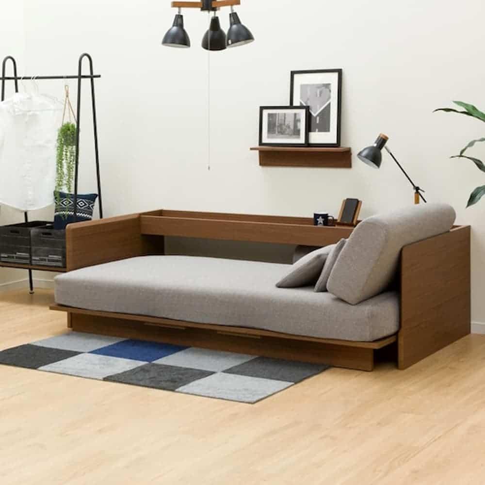 【ニトリ】 ベッドソファ B1−USB GY/MBR ミドルブラウン:場所を取らない3wayで使えるベッドソファ。