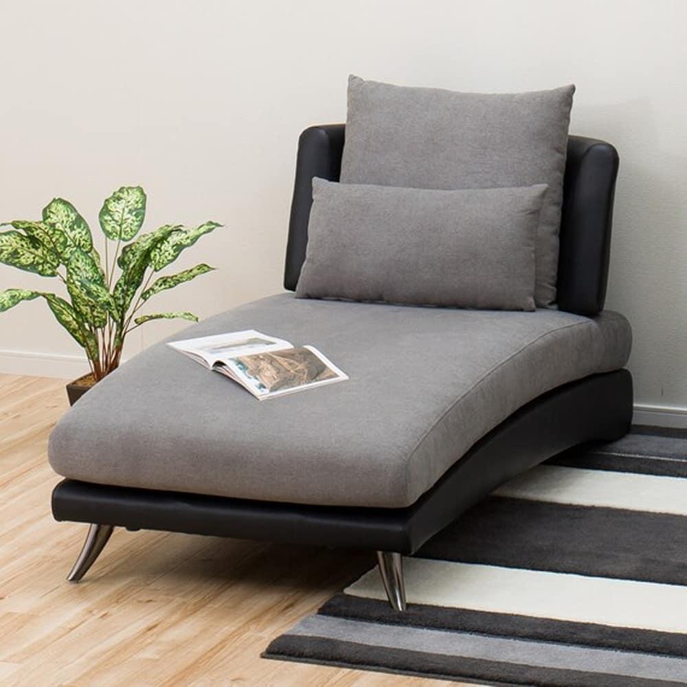 【ニトリ】 カウチソファ ポーション2 GY グレー:お部屋に圧迫感を感じさせない視覚デザイン。