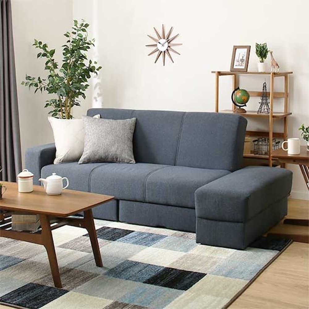 【ニトリ】 ソファベッド 収納スペース付き タキノウ3 GY グレー:お部屋のレイアウトに合わせて、肘部分を左右入れ替えて使用できます。