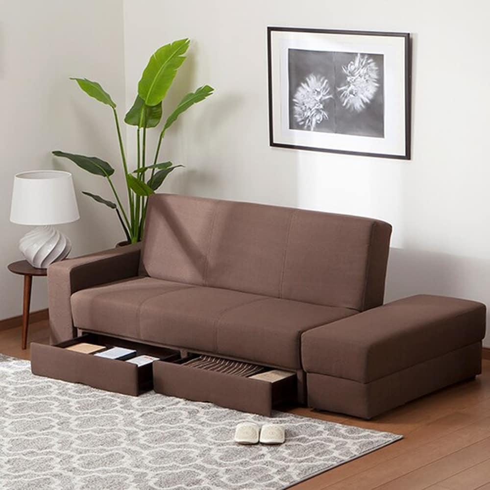 【ニトリ】 ソファベッド 収納スペース付き タキノウ3 DBR ダークブラウン:お部屋のレイアウトに合わせて、肘部分を左右入れ替えて使用できます。