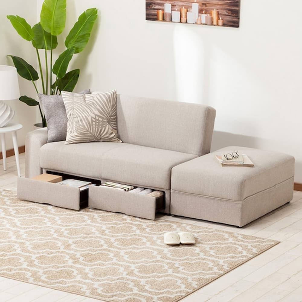 【ニトリ】 ソファベッド 収納スペース付き タキノウ4 ベージュ:お部屋のレイアウトに合わせて、肘部分を左右入れ替えて使用できます。