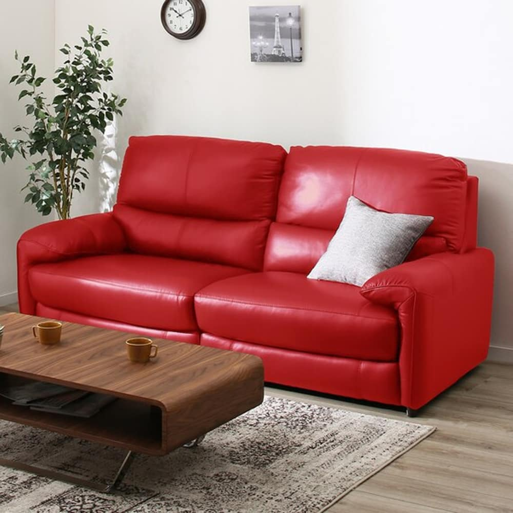 【ニトリ】 3人用ソファ ジャファー NBタイプ RED:快適な背もたれで革のタイプが選べるソファー