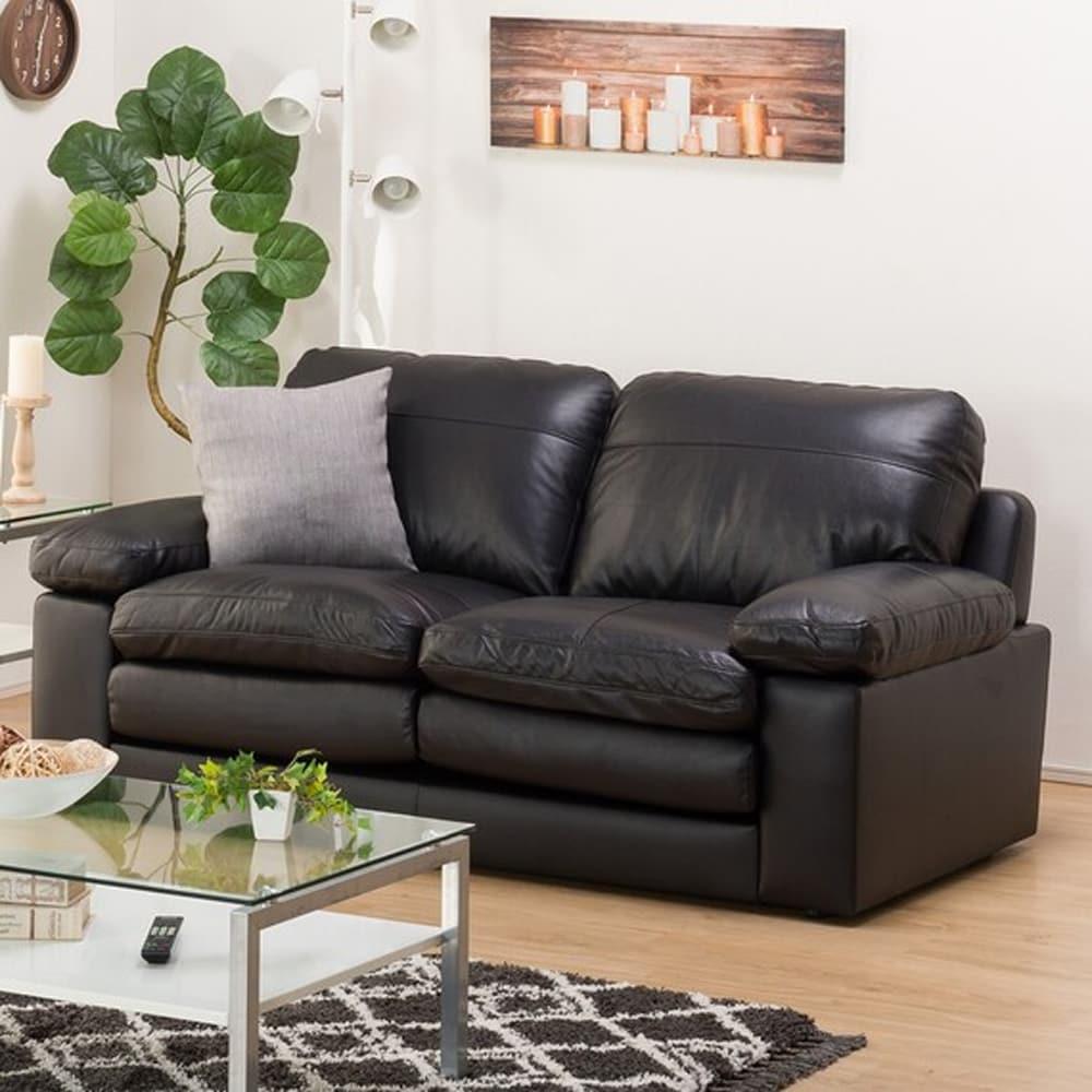 【ニトリ】 ワイド2人用ソファ Sステイツ BK ブラック:天然皮革ならではの手触りが楽しめるソファ