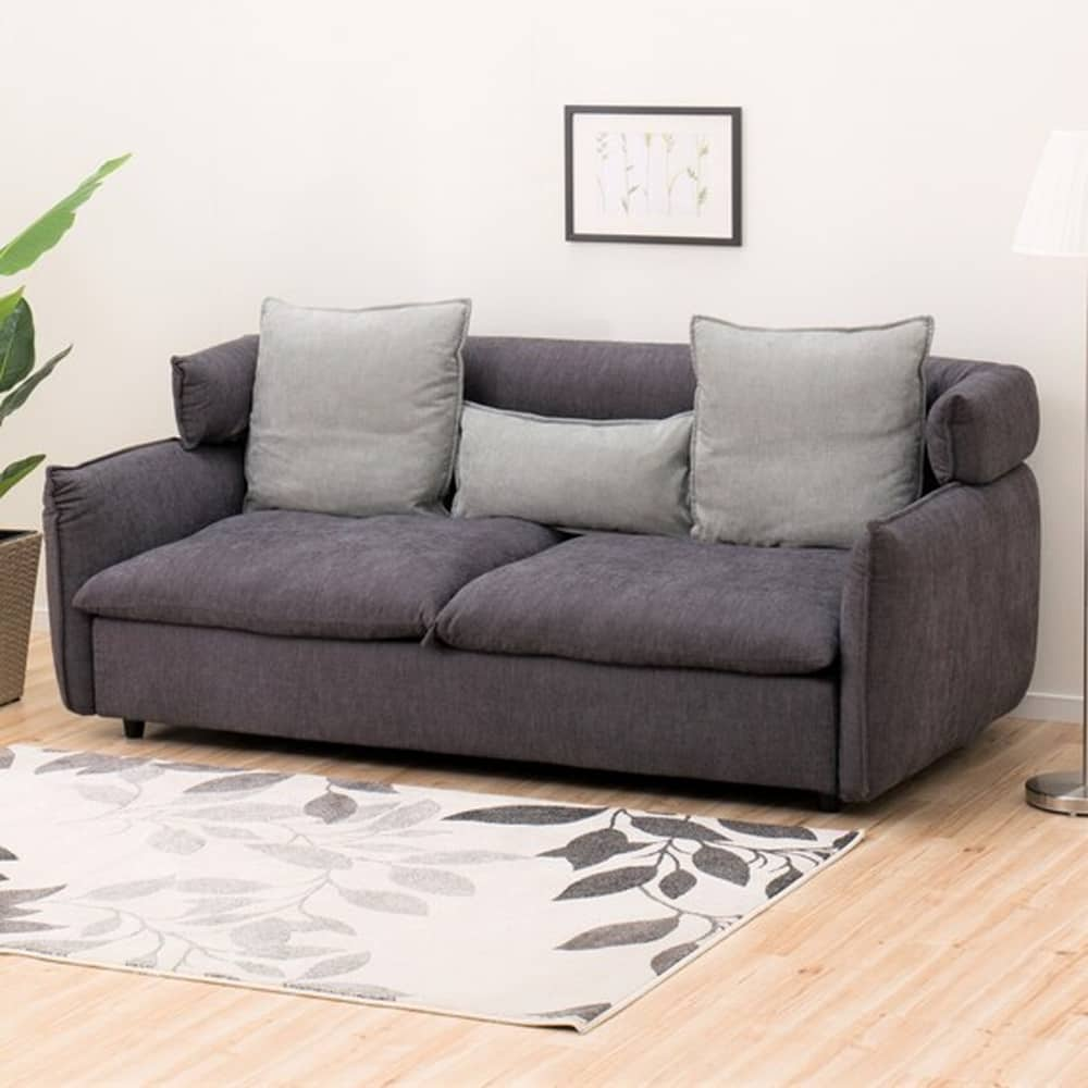 【ニトリ】 3人用ソファ(ソフティーナKD DGY):フェザーをたっぷり使用し包み込まれるような座り心地