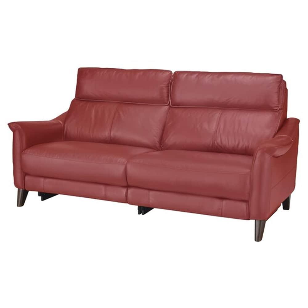【ニトリ】 3人掛けソファ チェリーブ 革:NB RE レッド:表面強度のあるしなやかな革を使用。
