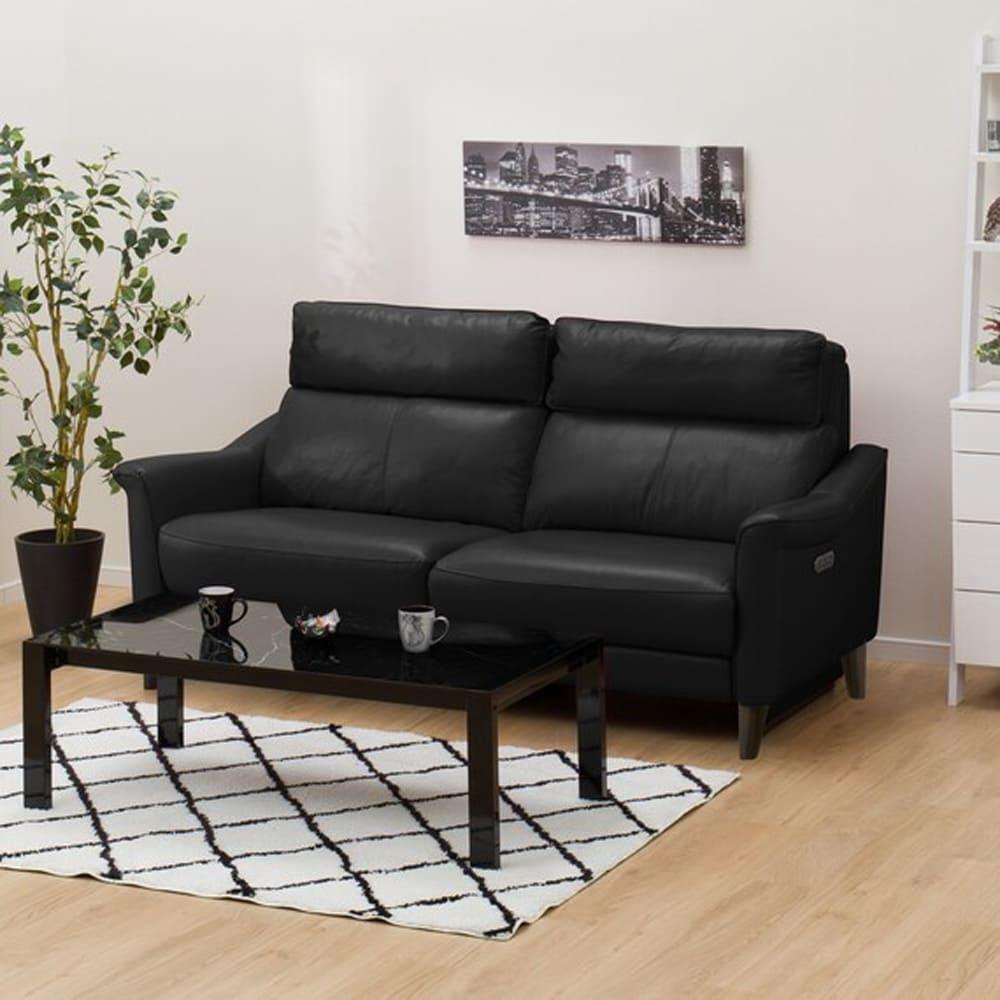【ニトリ】 3人掛けリクライニングソファ チェリーブ 左電動 革:NB ブラック:表面強度のあるしなやかな革を使用。