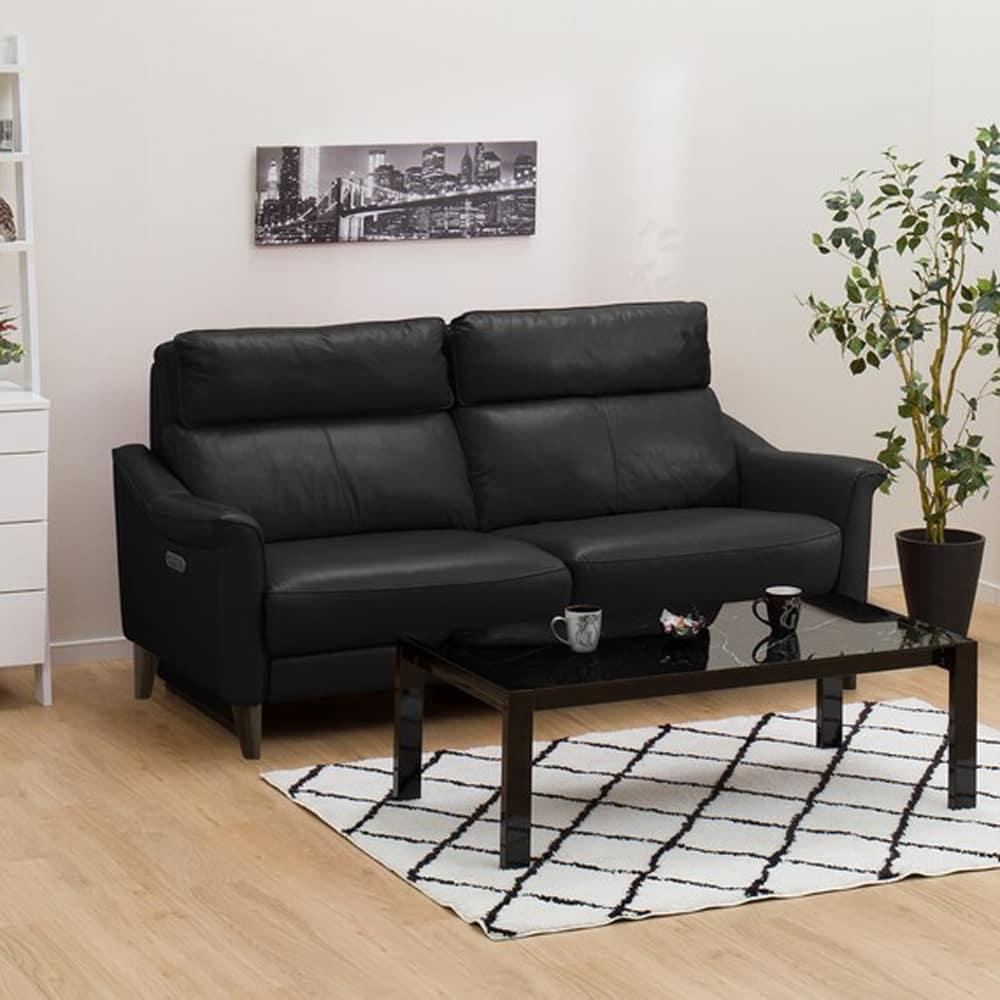 【ニトリ】 3人掛けリクライニングソファ チェリーブ 右電動 革:NB ブラック:表面強度のあるしなやかな革を使用。