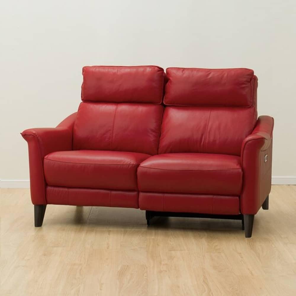 【ニトリ】 2人掛けリクライニングソファ チェリーブ 左電動 革:NB レッド:表面強度のあるしなやかな革を使用。