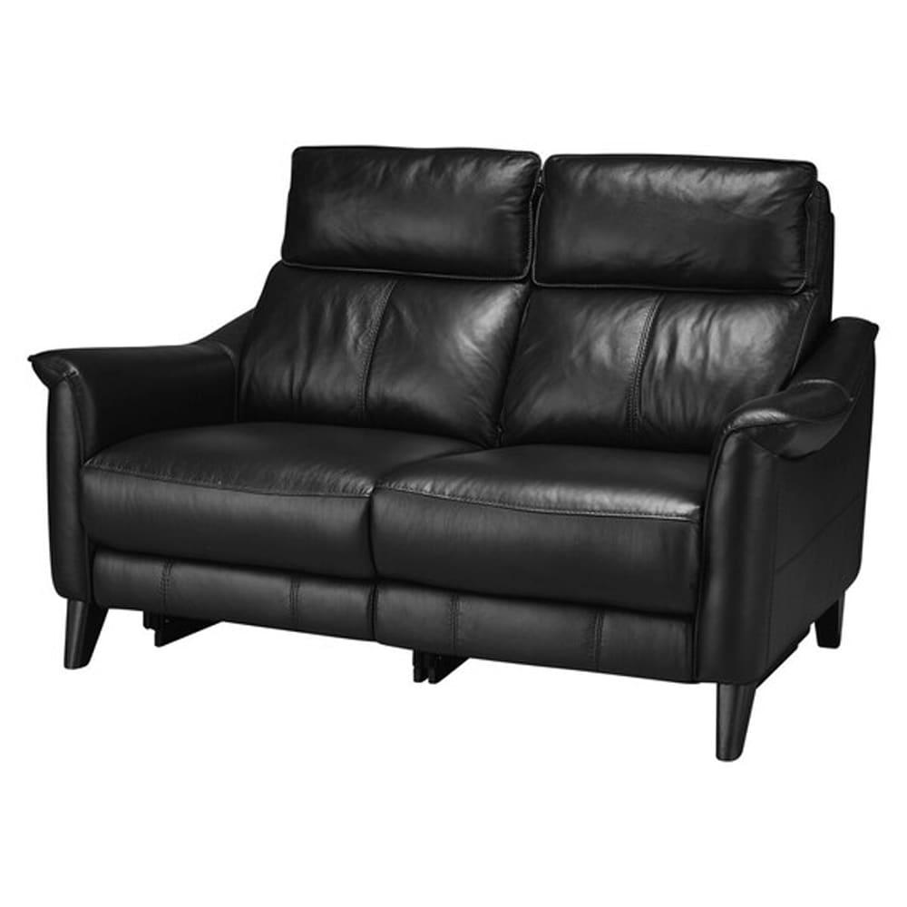 【ニトリ】 2人掛けソファ チェリーブ 革:NV BK ブラック:表面強度のあるしなやかな革を使用。