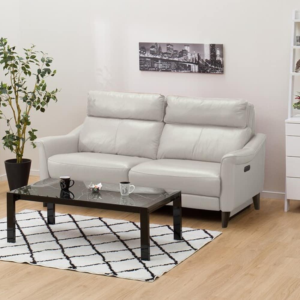 【ニトリ】 3人掛けリクライニングソファ チェリーブ 左電動 革:NV ライトグレー:表面強度のあるしなやかな革を使用。
