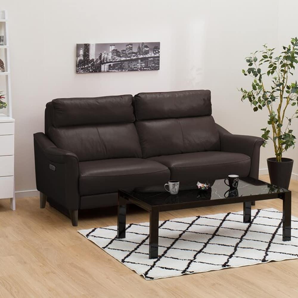 【ニトリ】 3人掛けリクライニングソファ チェリーブ 右電動 革:NV ダークブラウン:表面強度のあるしなやかな革を使用。