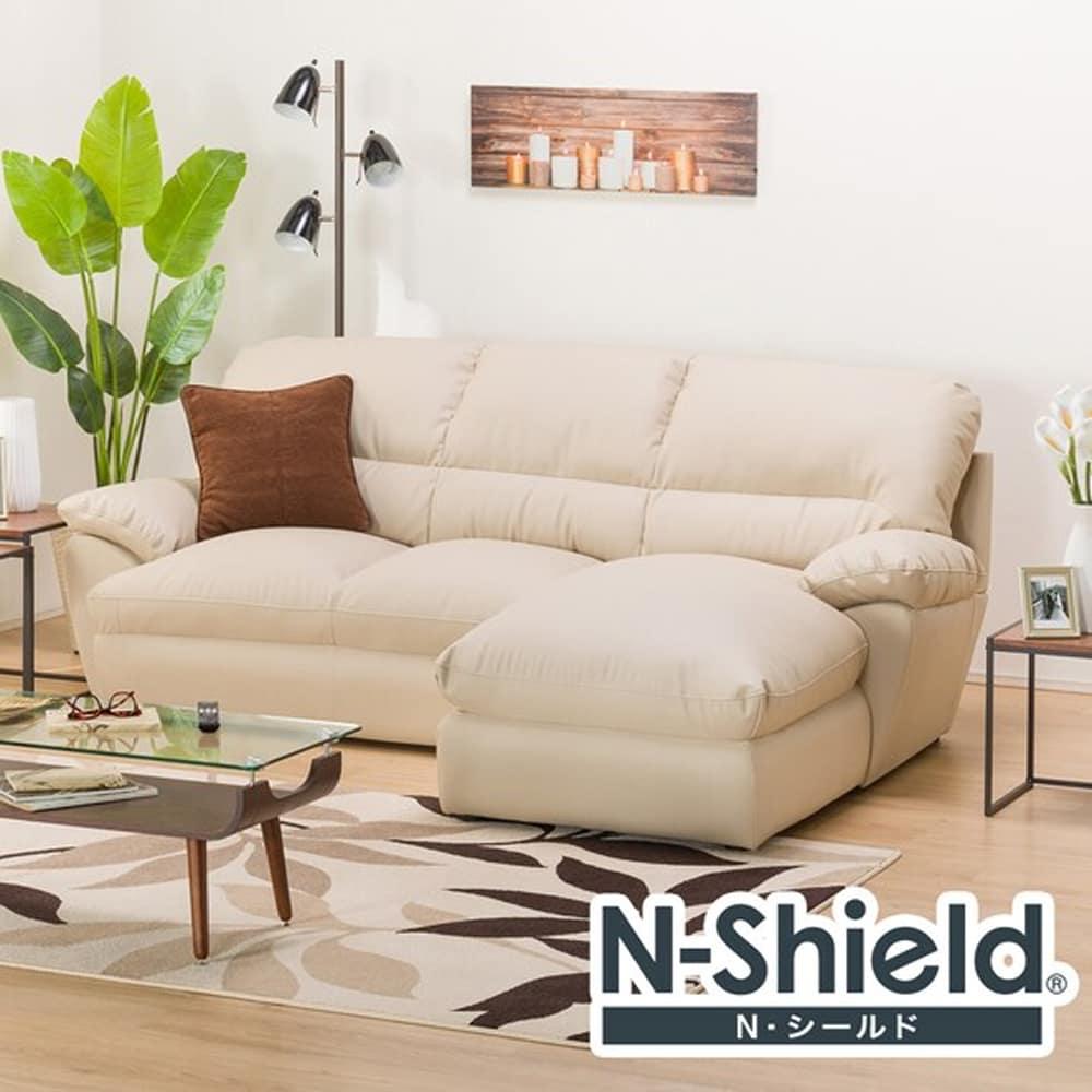 【ニトリ】 カウチソファ(左カウチ) Nシールドビット3LC ベージュ:体を包むやわらかな座り心地のソファ