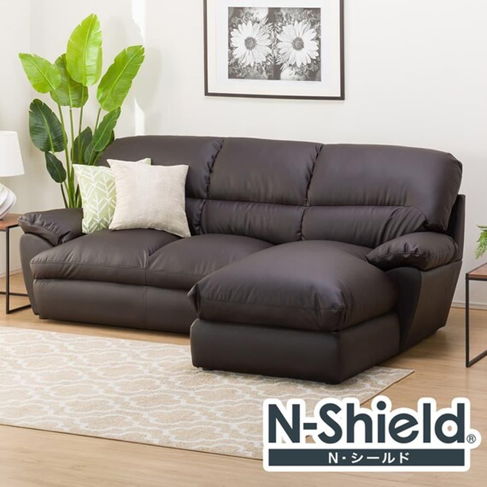 【ニトリ】 カウチソファ(左カウチ) Nシールドビット3LC ダークブラウン:体を包むやわらかな座り心地のソファ