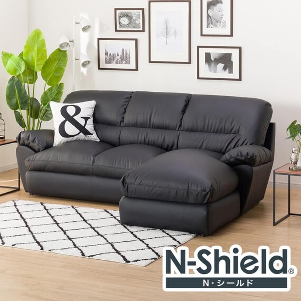 【ニトリ】 カウチソファ(左カウチ) Nシールドビット3LC ブラック:体を包むやわらかな座り心地のソファ