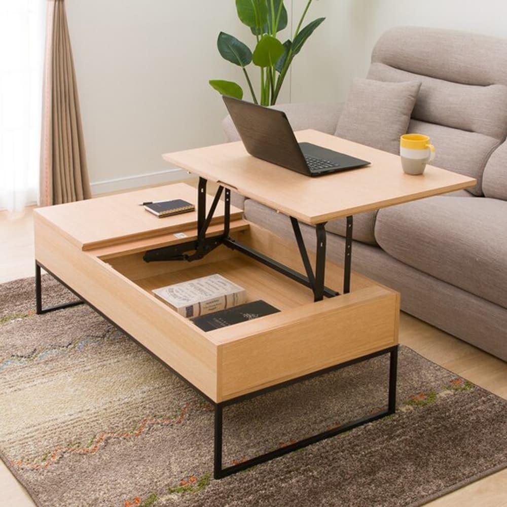 【ニトリ】 センターテーブル 天板昇降式 Nヒバリ 120 LBR ライトブラウン:昇降機能を兼ね備えたデスクとしても使えるリビングテーブル。
