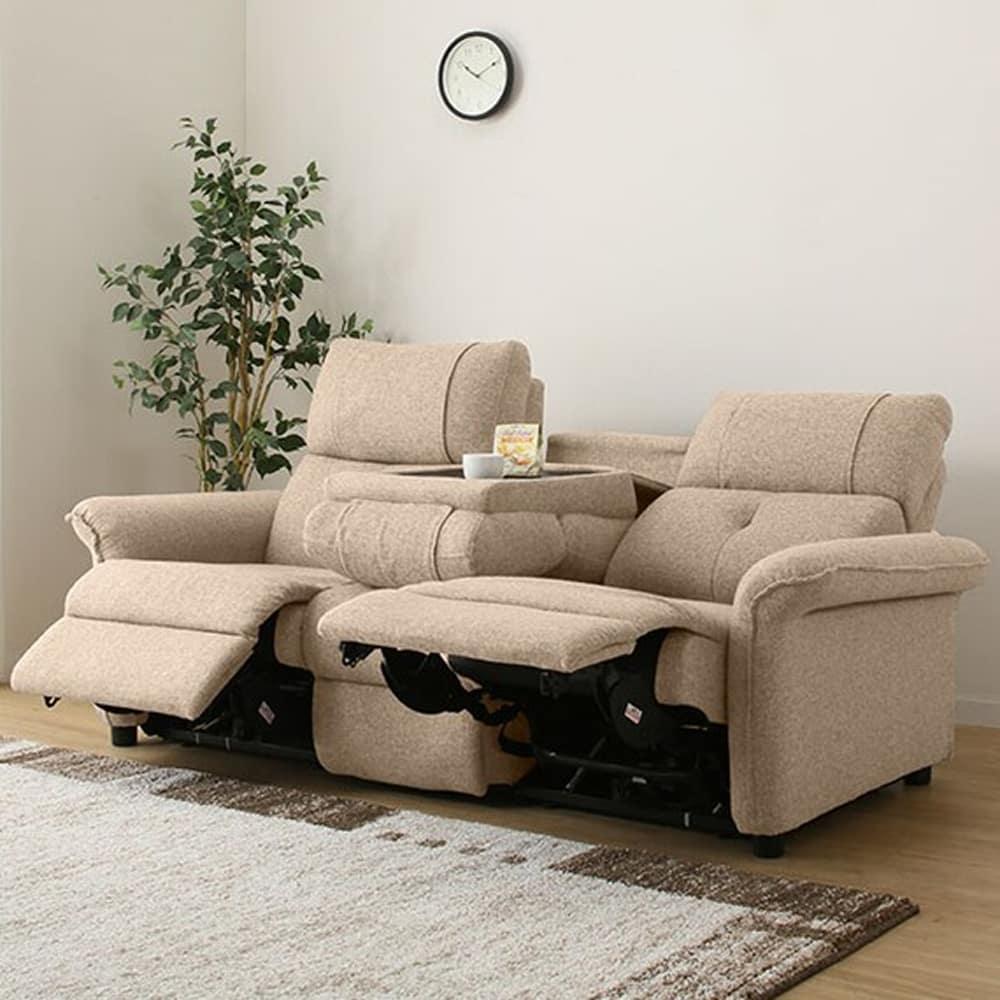 【ニトリ】 3人用リクライニングソファ テーブル付き3Pソファ ピュール B ベージュ:ゆったり極上のくつろぎをお届けする、電動リクライニングソファ