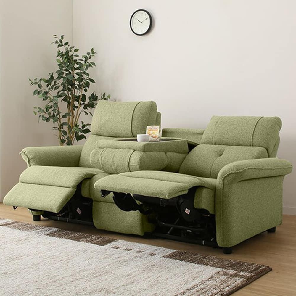 【ニトリ】 3人用リクライニングソファ テーブル付き3Pソファ ピュール G グリーン:ゆったり極上のくつろぎをお届けする、電動リクライニングソファ