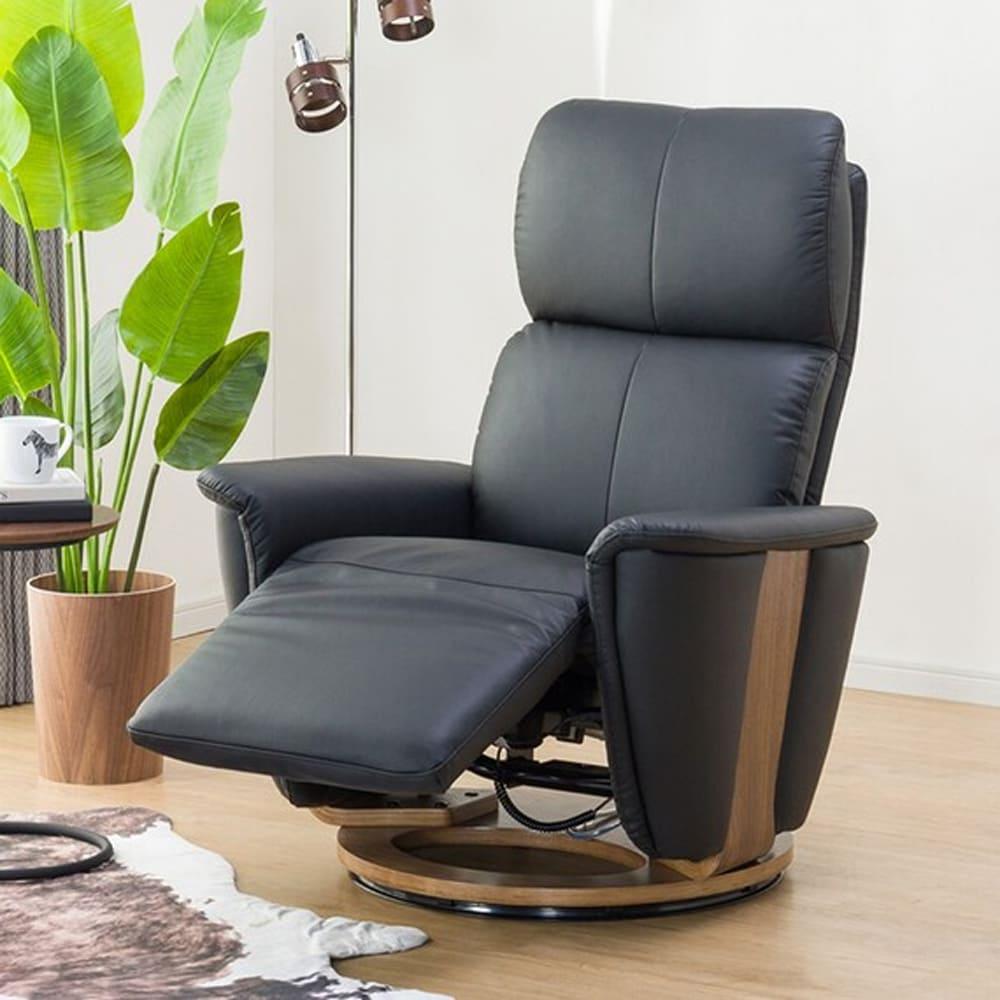 【ニトリ】 電動本革リクライニングチェア 2モーター ラグジェ BK ブラック:本革と天然木の心地よさ