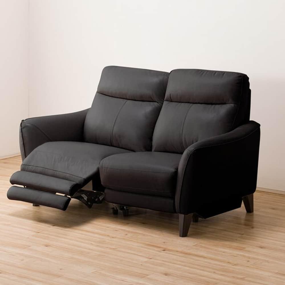 【ニトリ】 2人掛けリクライニングソファ アネーロ 右電動 NB ブラック:ハイバックの背もたれで、頭までしっかり支えサポート。