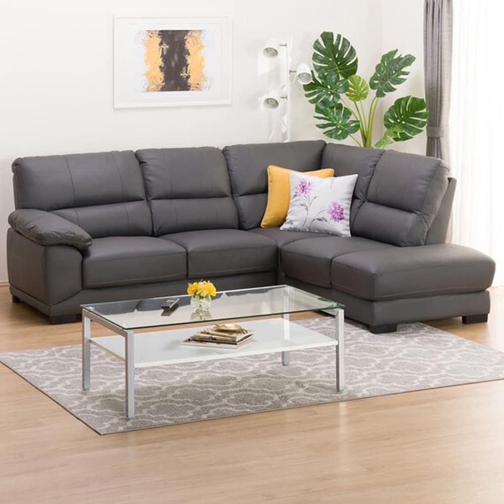 【ニトリ】 コーナーソファ CNソファ ウォール3KD LC 革C グレー:フィット感のある座り心地のソファです