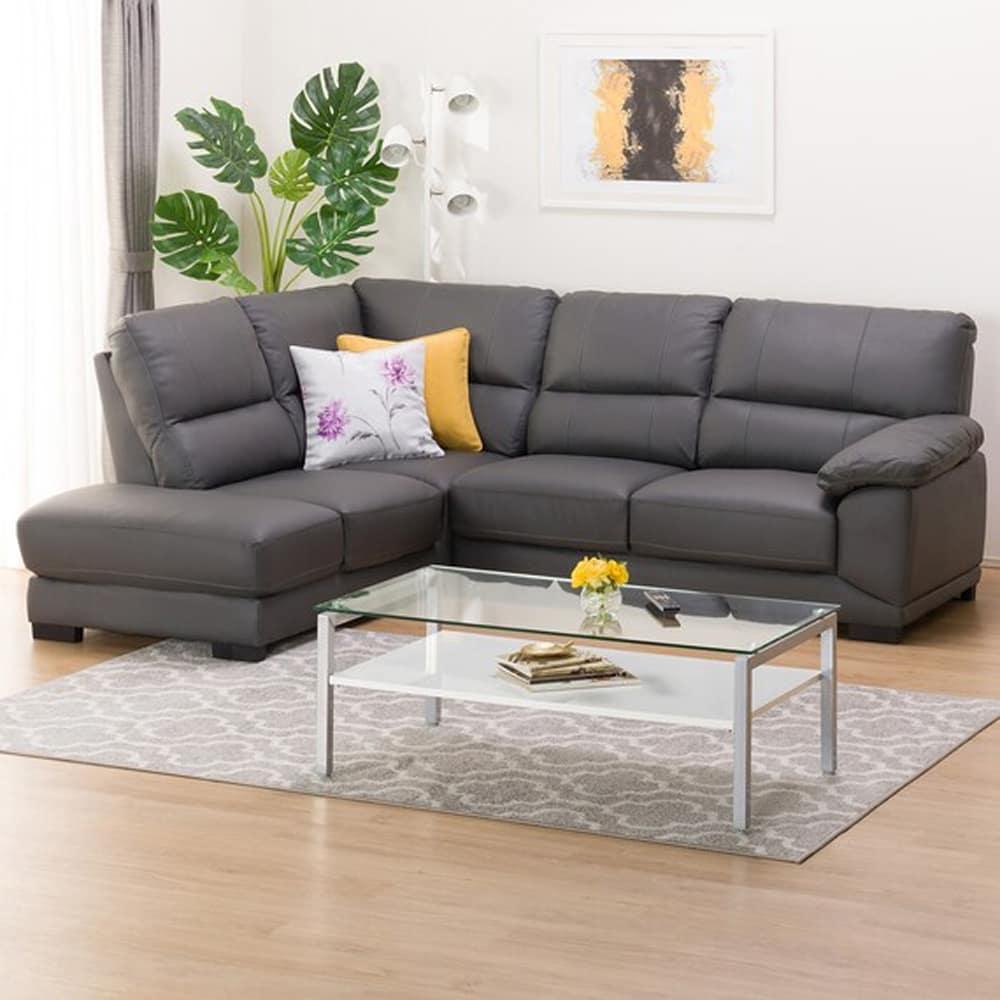 【ニトリ】 コーナーソファ CNソファ ウォール3KD RC 革C グレー:フィット感のある座り心地のソファです
