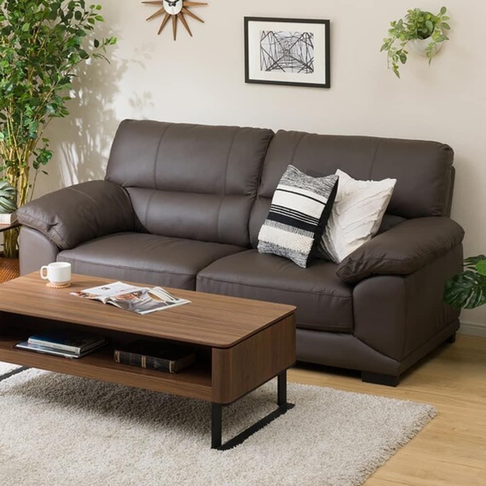 【ニトリ】 3人用ソファ 3Pソファ ウォール3KD 革C1DB ダークブラウン:フィット感のある座り心地のソファです