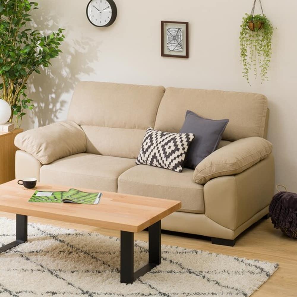 【ニトリ】 2人用ソファ 2Pソファ ウォール3KD BE ベージュ:フィット感のある座り心地のソファです