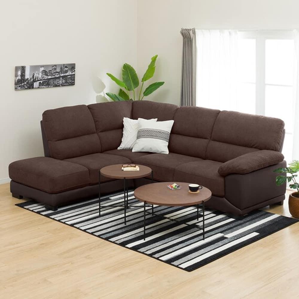 【ニトリ】 コーナーソファ CNソファ ウォール3KD RC DBR ダークブラウン:フィット感のある座り心地のソファです