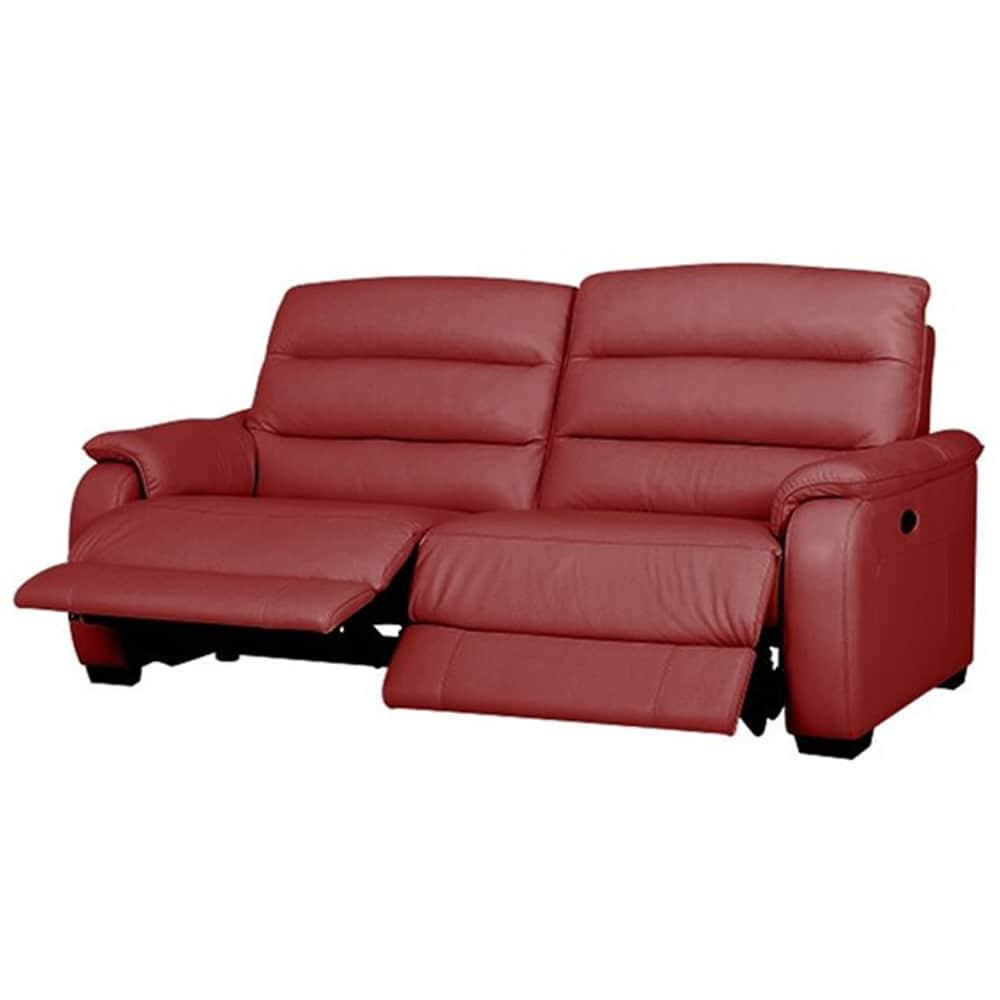 【ニトリ】 3人掛けリクライニングソファ クローナ 両電動 NB レッド:背もたれはハイバックと首・背・腰の独立クッションでしっかりサポート