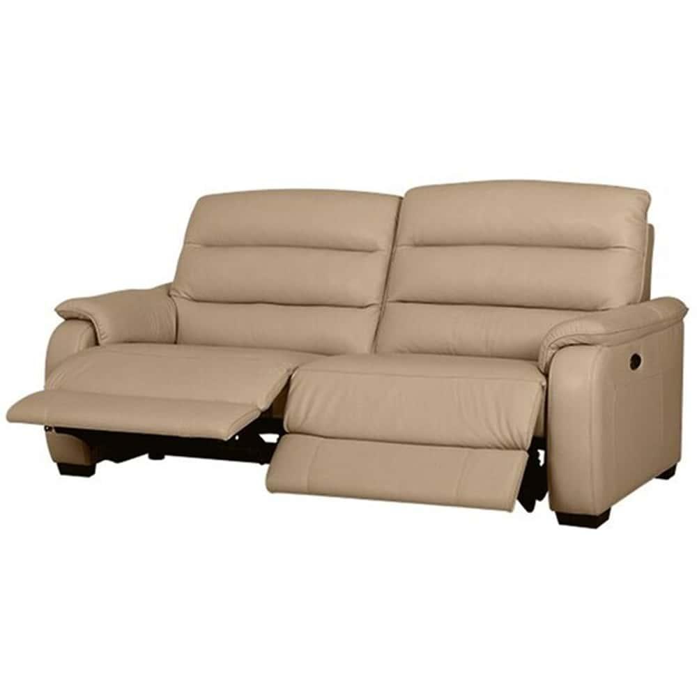 【ニトリ】 3人掛けリクライニングソファ クローナ 両電動 NV ベージュ:背もたれはハイバックと首・背・腰の独立クッションでしっかりサポート