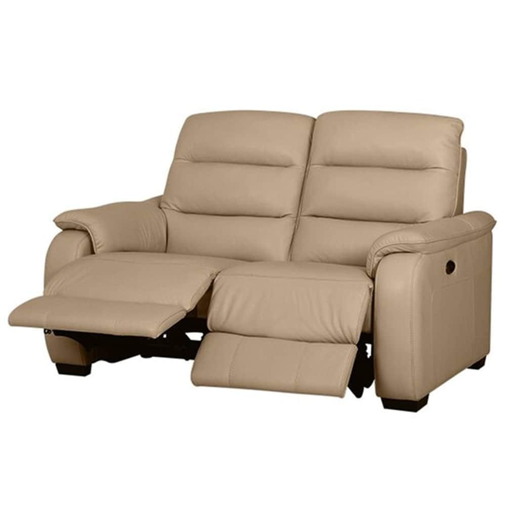 【ニトリ】 2人掛けリクライニングソファ クローナ 両電動 NV ベージュ:背もたれはハイバックと首・背・腰の独立クッションでしっかりサポート