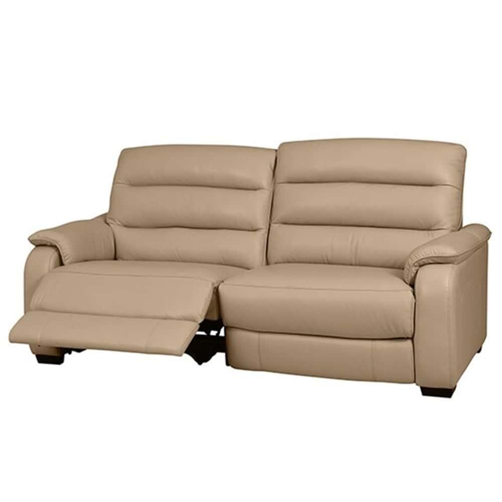 【ニトリ】 3人掛けリクライニングソファ クローナ 右電動 NV ベージュ:背もたれはハイバックと首・背・腰の独立クッションでしっかりサポート