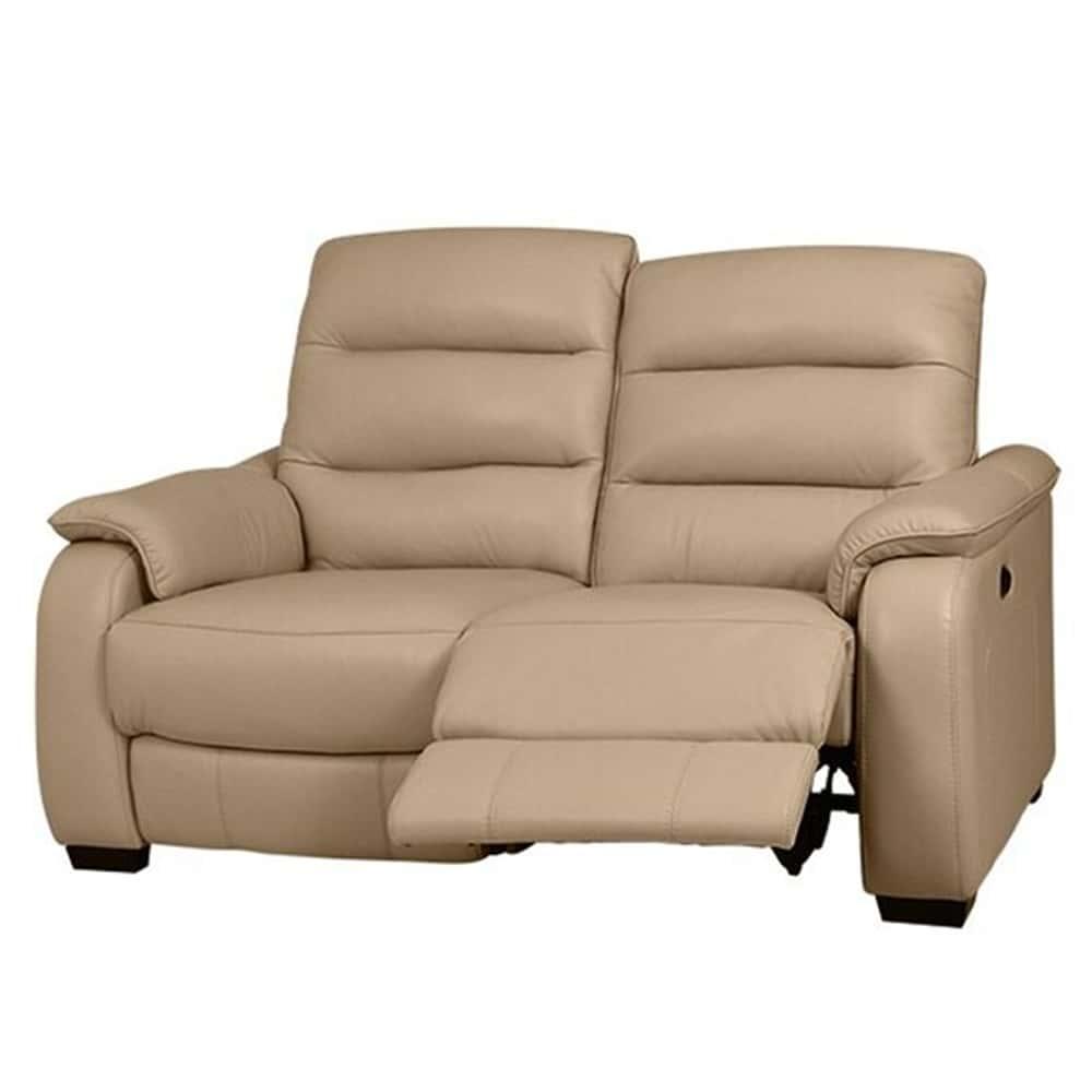 【ニトリ】 2人掛けリクライニングソファ クローナ 左電動 NV ベージュ:背もたれはハイバックと首・背・腰の独立クッションでしっかりサポート
