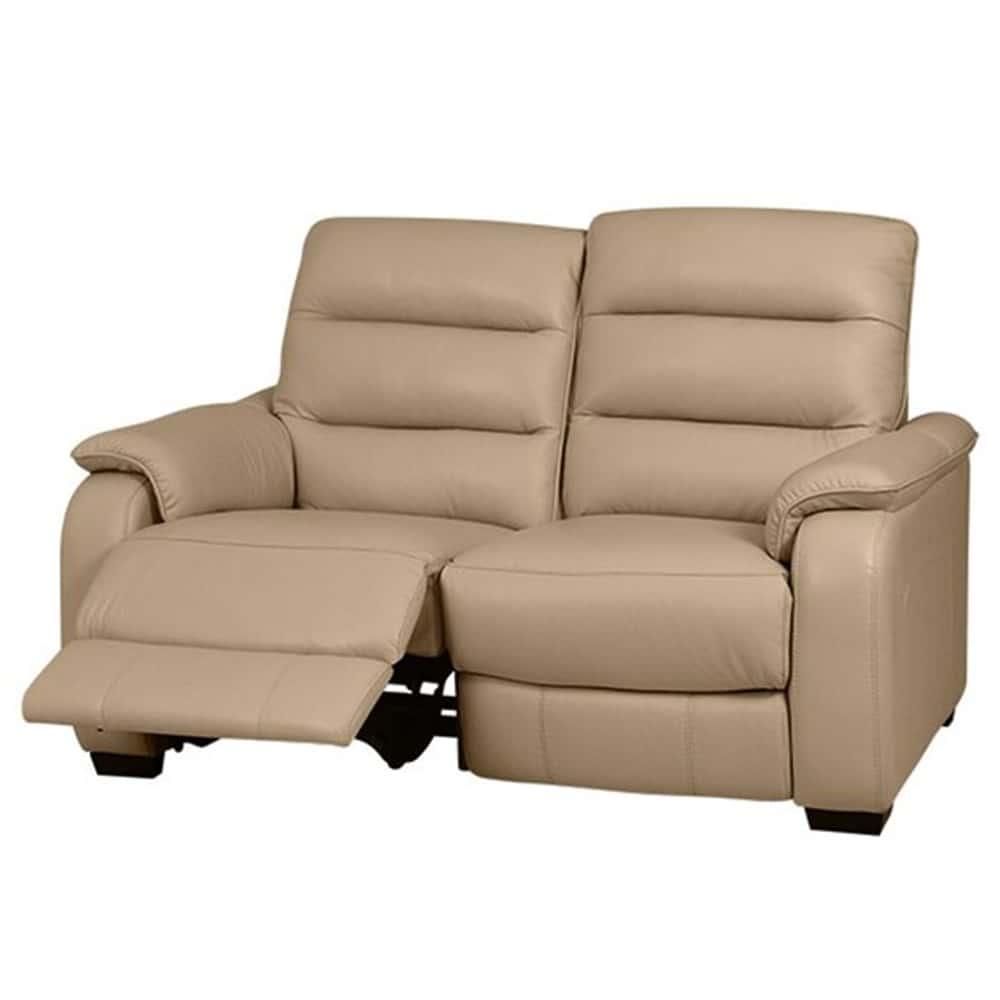 【ニトリ】 2人掛けリクライニングソファ クローナ 右電動 NV ベージュ:背もたれはハイバックと首・背・腰の独立クッションでしっかりサポート