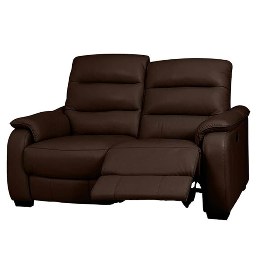 【ニトリ】 2人掛けリクライニングソファ クローナ 左電動 NV ダークブラウン:背もたれはハイバックと首・背・腰の独立クッションでしっかりサポート