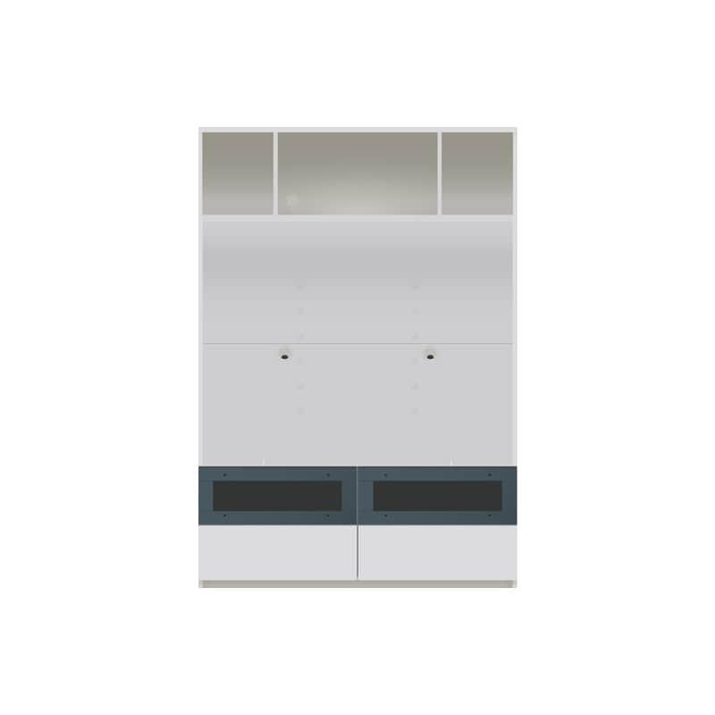 パモウナ 壁面収納 TVボード【上部オープン】 CA−1201 W(パールホワイト):収納をまとめてすっきり
