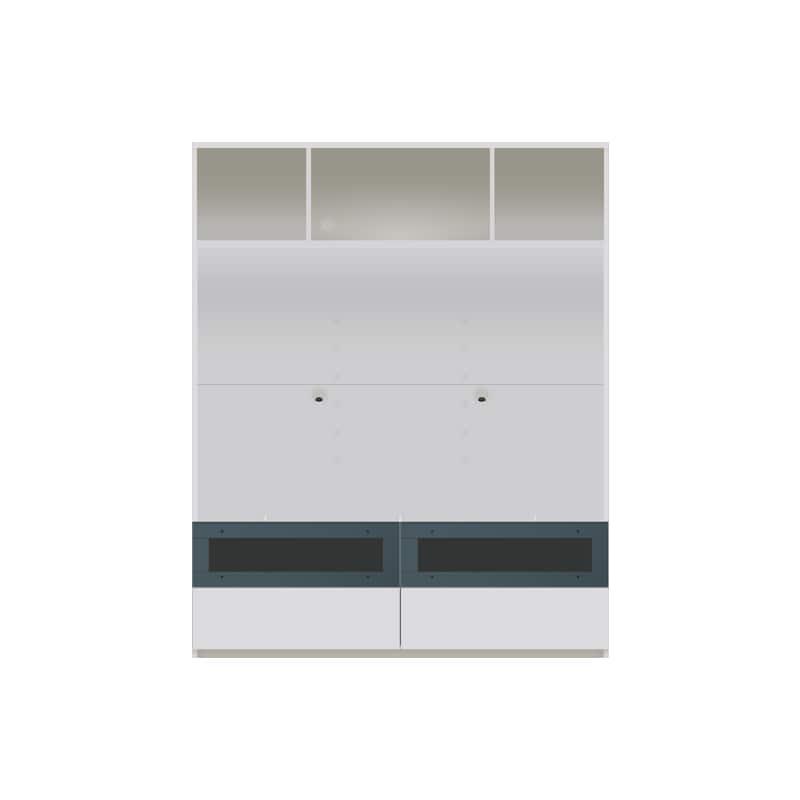 パモウナ 壁面収納 TVボード【上部オープン】 CA−1401 W(パールホワイト):収納をまとめてすっきり