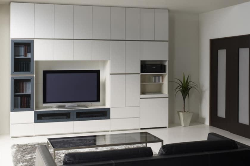 パモウナ 壁面収納 キャビネット CA−800 W(パールホワイト)