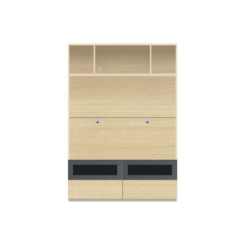 パモウナ 壁面収納 TVボード【上部オープン】CA−1201 O(ホワイトオーク)