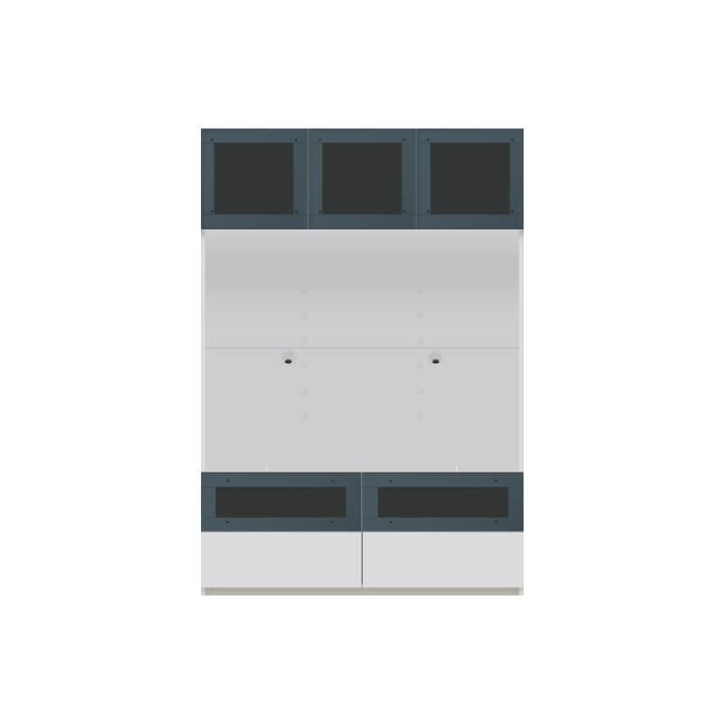 パモウナ 壁面収納 TVボード【上部ガラス扉】CA−G1200 W(パールホワイト):収納をまとめてすっきり