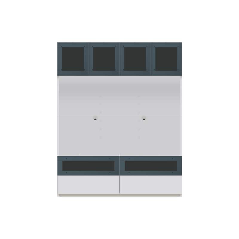 パモウナ 壁面収納 TVボード【上部ガラス扉】CA−G1400 W(パールホワイト):収納をまとめてすっきり