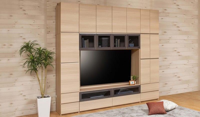 パモウナ 壁面収納 TVボード【上部ガラス扉】CA−G1600 W(パールホワイト):収納をまとめてすっきり